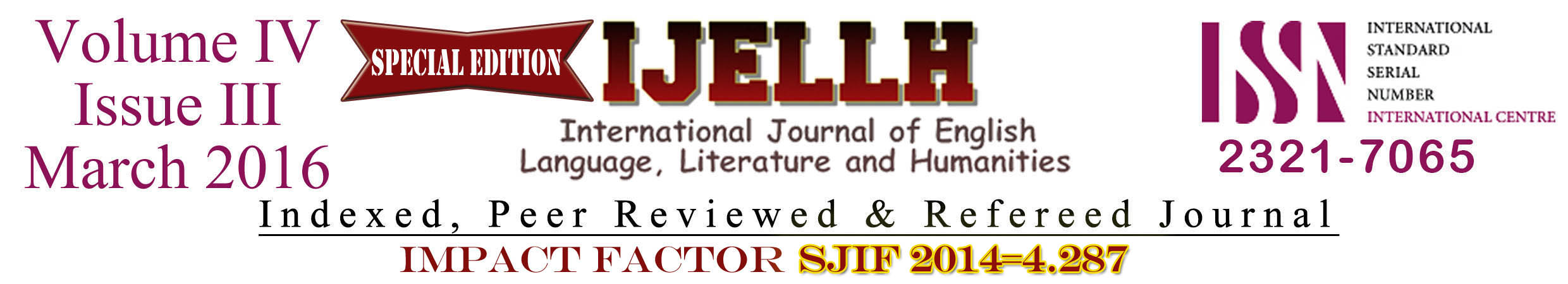 View Vol. 4 No. 3 (2016): Special Edition Volume IV Issue III March 2016